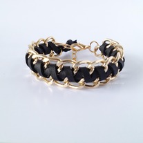 Black leather with gold chain bracelet