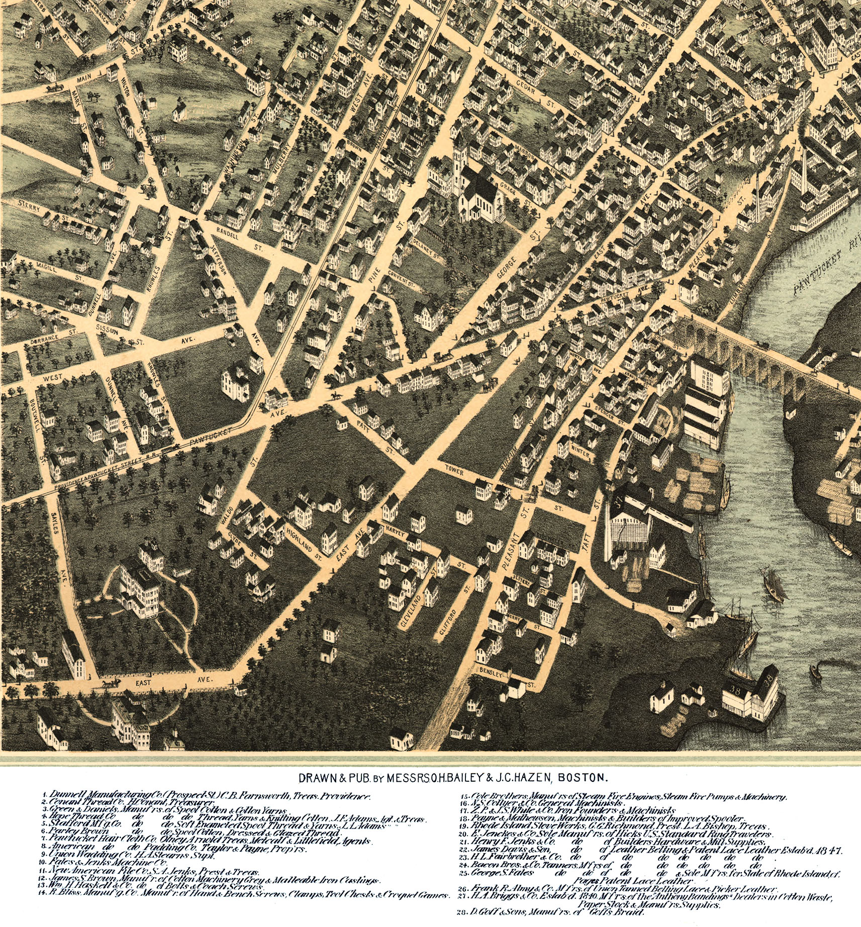 Pawtucket (RI) United States  City pictures : Pawtucket & Central Falls, RI in 1877 Bird's Eye View, Aerial ...