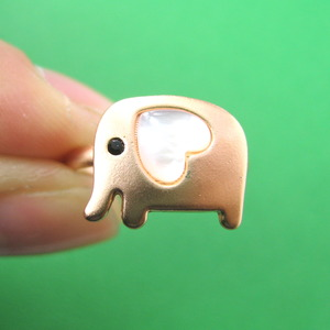 Adjustable Cute Elephant Ring in Copper with Pearl Heart Shaped Ears