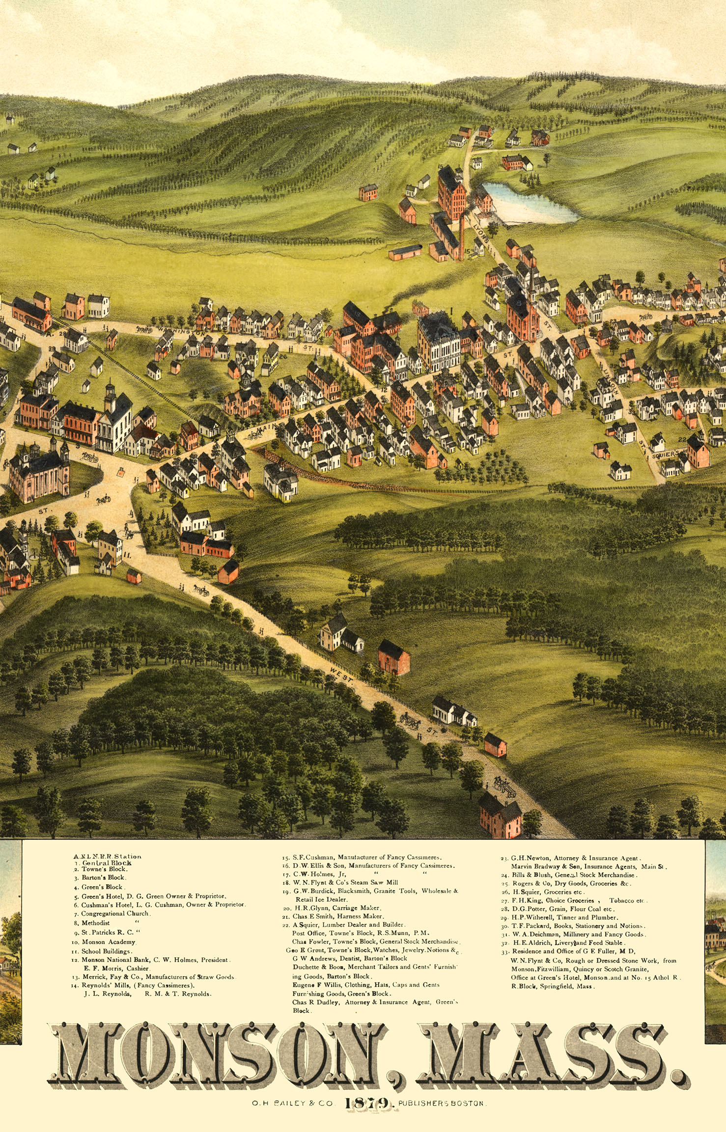 Monson, MA in 1879 - Bird\'s Eye View, Aerial map, Panorama, Vintage map,  Antique map, Reproduction, Giclée, Framable map, Fine Art. Wall map from  The ...