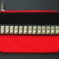 Studded Black & Red Makeup Bag