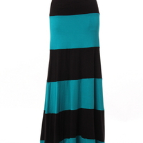Colorblock Black & Aqua Biscot Jersey Long Tank Maxi Dress Skirt Striped SML