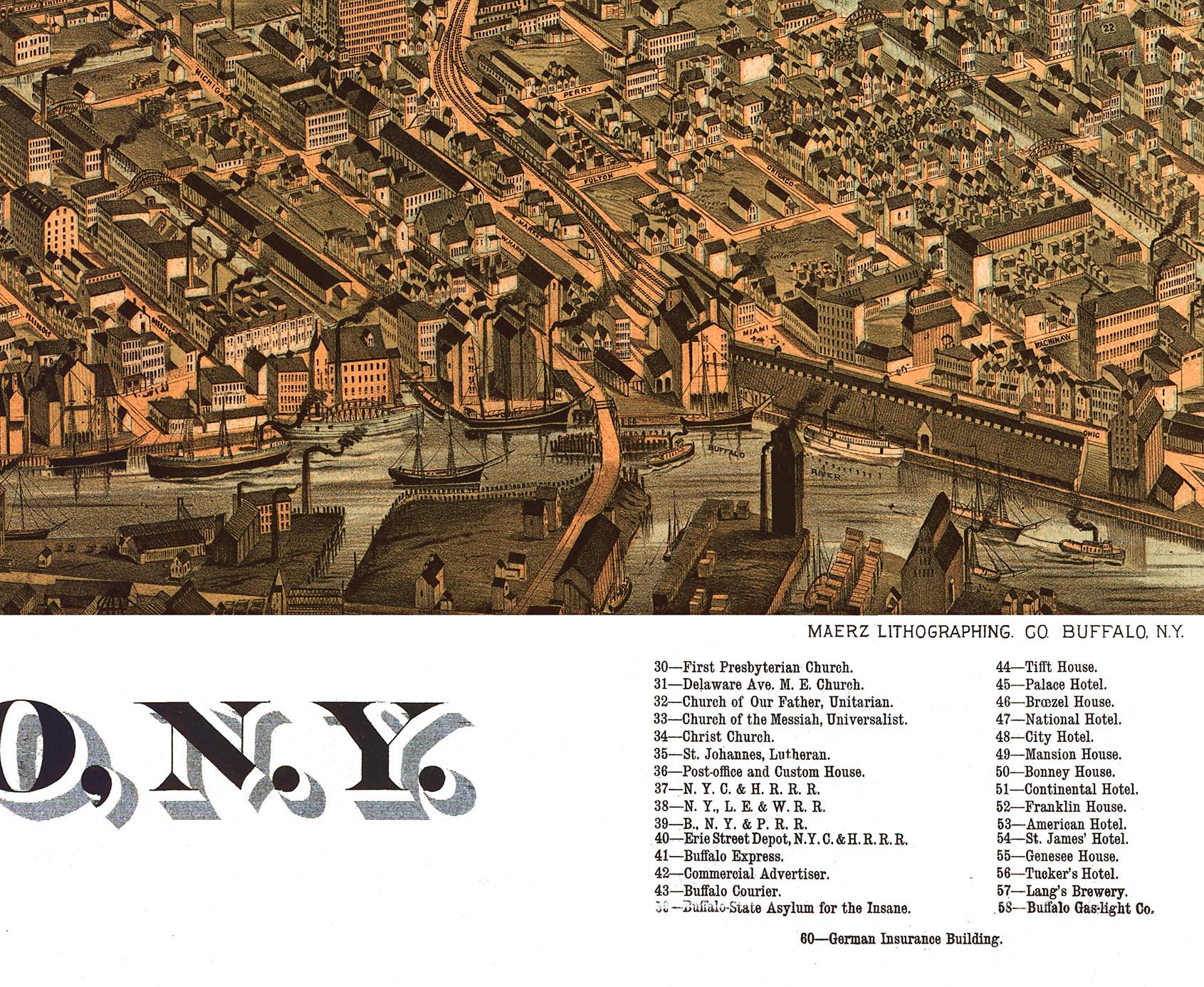 Buffalo ny in 1880 bird 39 s eye view map aerial map for Craft stores buffalo ny
