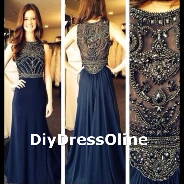 A Line Scoop Neck Beaded Bodice Navy Blue Chiffon Skirt Long Prom