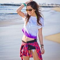 Purple Tie Dye Crop Shirt