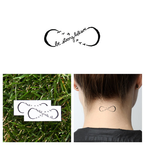 infinity believe symbol temporary tattoo set of 2 tattify online store powered by storenvy. Black Bedroom Furniture Sets. Home Design Ideas