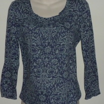 Blue Floral Design Long Sleeve Shirt-Oh Baby by Motherhood Size Large