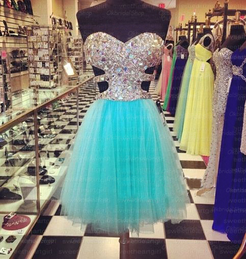 Short Tiffany blue prom dress, blue prom dress, formal prom dress ...