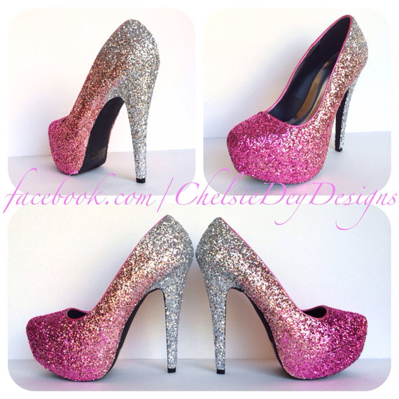 Blush Glitter High Heels, Ombre Platform Pumps, Hot Pink Silver ...