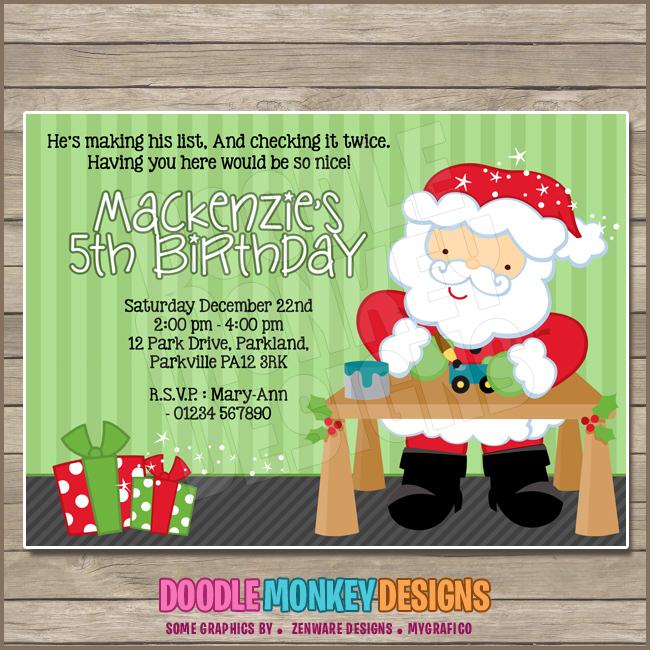 Santas workshop party invitation diy printable digital invite santas workshop party invitation diy printable digital invite stopboris Images