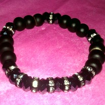 Black Bling Bead Bracelet