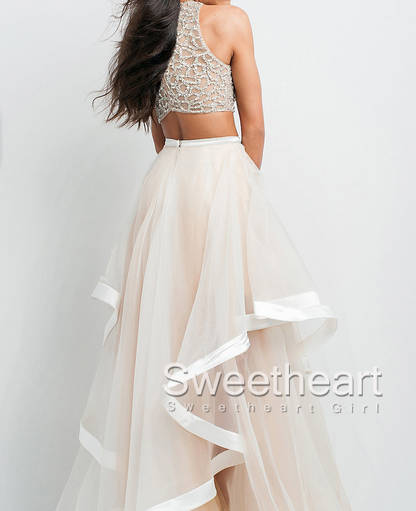 Sweetheart Girl | Sequins Tulle Flouncing Long Prom Dresses, Formal ...