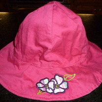 Hot Pink Hat with Flowers-One Size