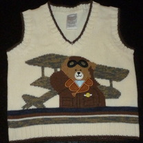 Creme Sweater Vest With Bear-Starting Out Size 12 Months