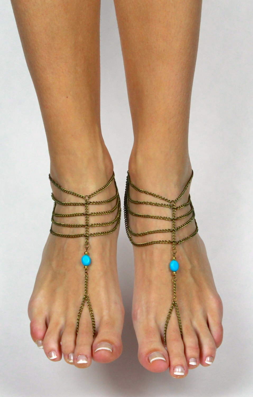 Wedding Foot Jewelry brass chained boho beach slave anklet bohemian foot jewelry aqua wear barefoot
