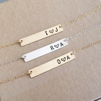 In love initial bar necklace