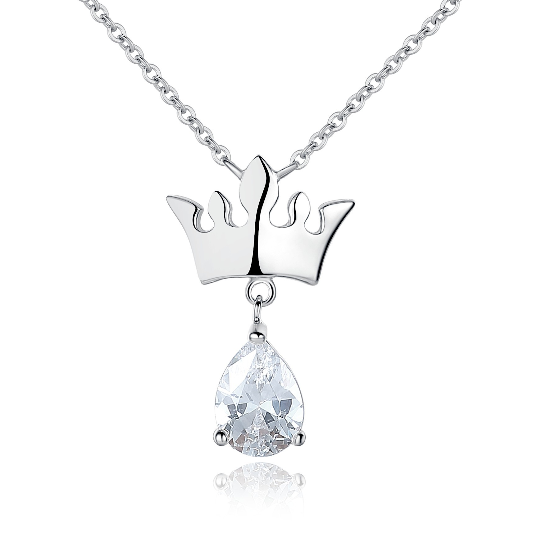 Womens sterling silver crown with dangling tear drop cubic zirconia womens sterling silver crown with dangling tear drop cubic zirconia pendant necklace jewelry aloadofball Image collections