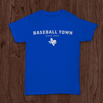 Baseball town with texas blue