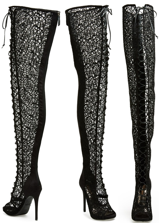 Lace Thigh High Boots - Cr Boot