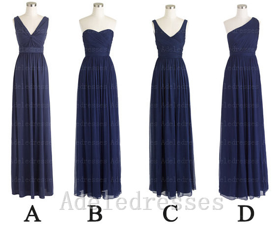 Simple Dark Blue Chiffon Cheap Long Bridesmaid Dress,custom Made Navy Blue  Bridesmaid Dresses,