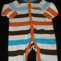 Orange/Brown/Blue Stripe Long Sleeve Romper with Hood-Dwell Studio Size 3-6 Months