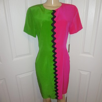 Vintage Pink and Green Color Blocking Dress Size 8!
