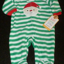 Green/White Stripe Santa Sleeper-NEW-Just One You by Carter's Size Newborn
