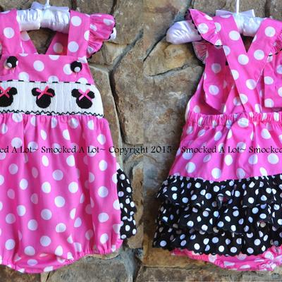 Smocked minnie mouse pink polka dot ruffle butt bubble