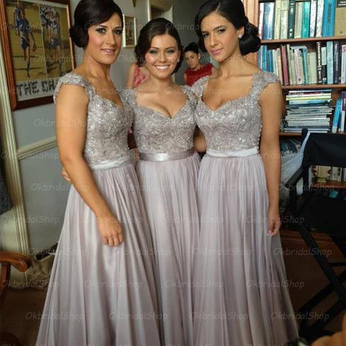 Cap Sleeve Bridesmaid Dresses, Lace Bridesmaid Dress, Grey Prom Dress, Dresses  For Wedding
