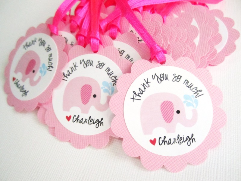 Pink Elephant Favor Tags For Baby Girl Shower Party, Personalized    Thumbnail 1 ...