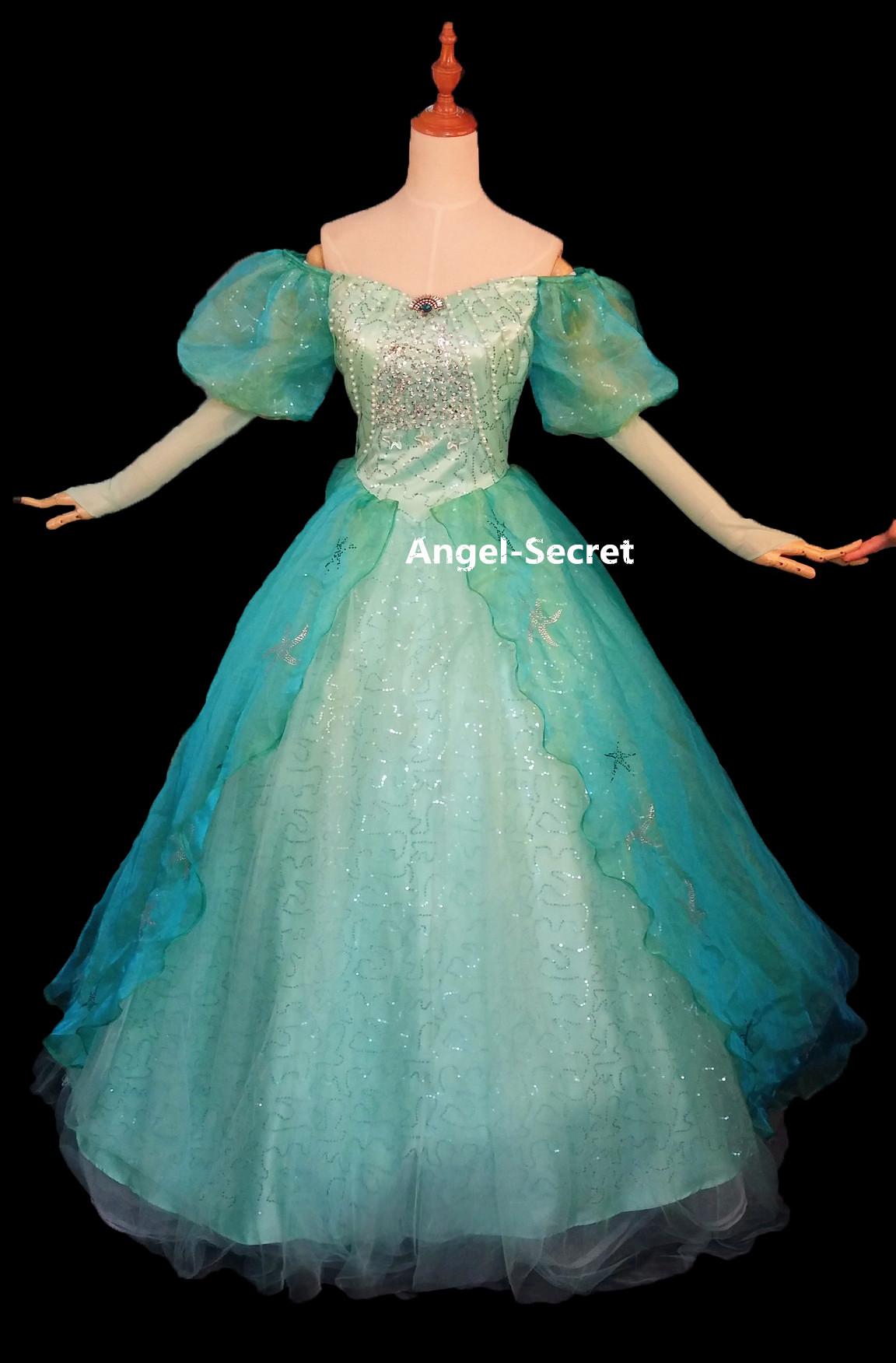 P180 Little Mermaid Aqua Custom gown princess Ariel teal sequins ...