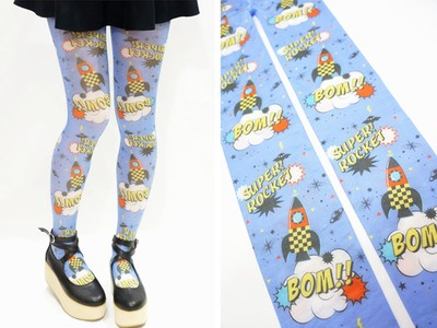 Pastel Sky Rocket Harajuku Tights - Blue