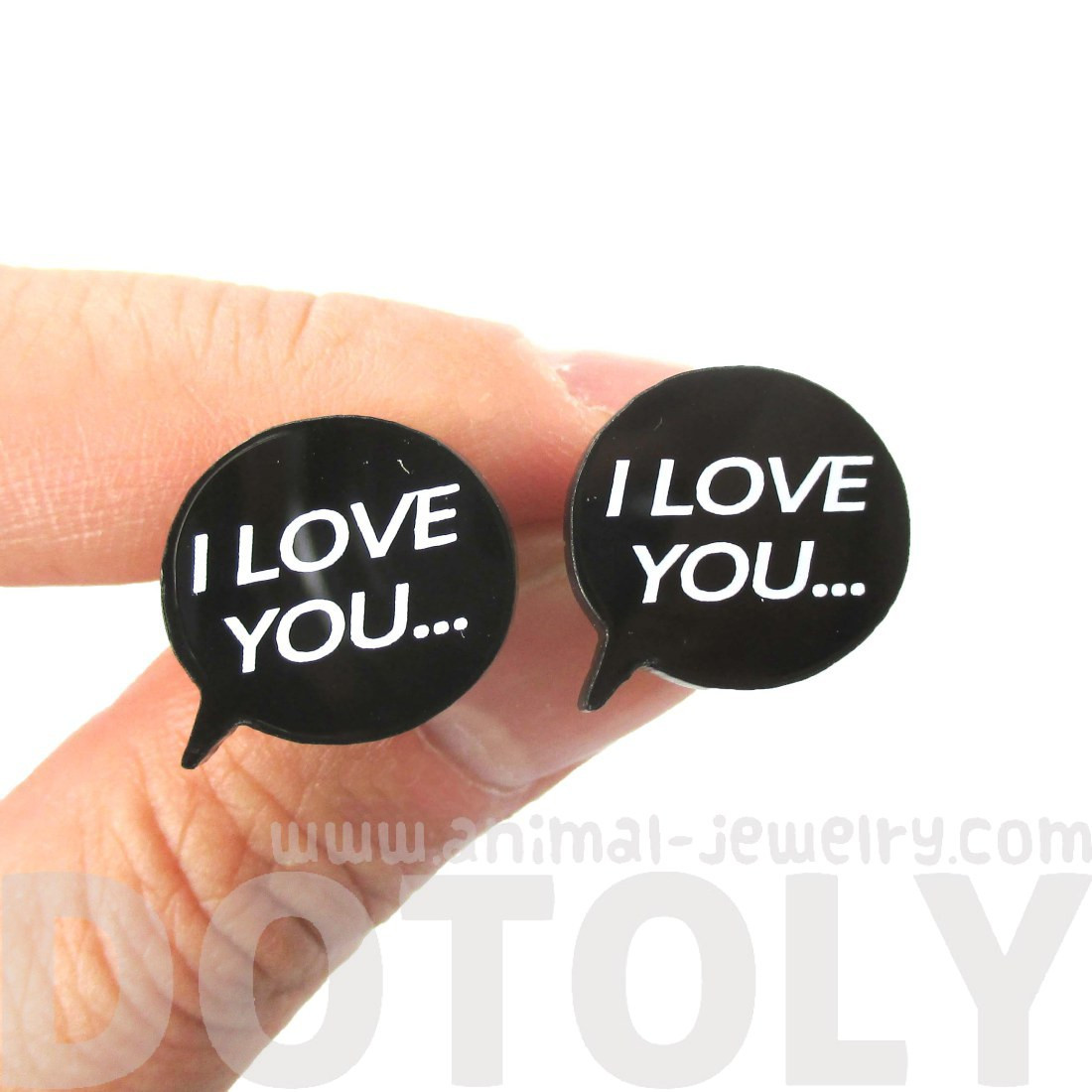 i love you speech bubble shaped laser cut stud earrings in black thumbnail 1