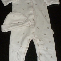 Creme Long Sleeve Romper with Brown Flowers/Matching Hat-New(Without Tag)-FAO Size 6-9 Months