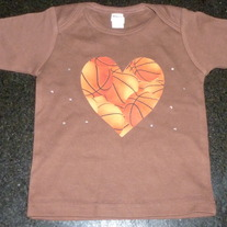 Brown Shirt With Basketball Heart and Rhinestones-NEW-Boutique Size 18-24 Months
