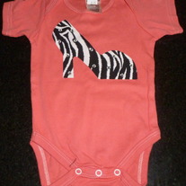 Pink Onesie With High Heel/Rhinestones-NEW-Boutique Size 12 Months