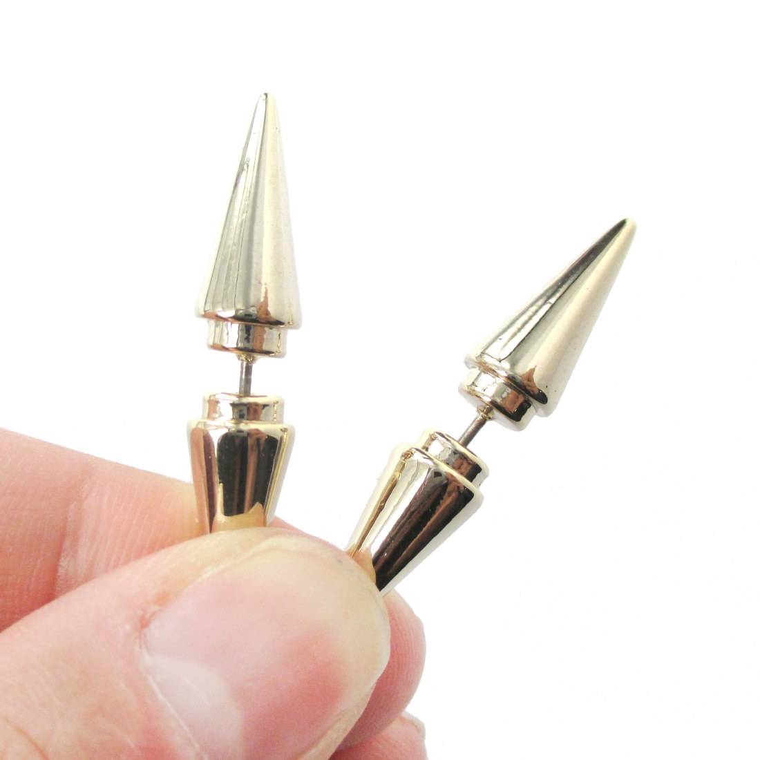 3d Fake Gauge Geometric Shaped Triangle Spike Front And Back Stud Earrings  In Shiny Gold
