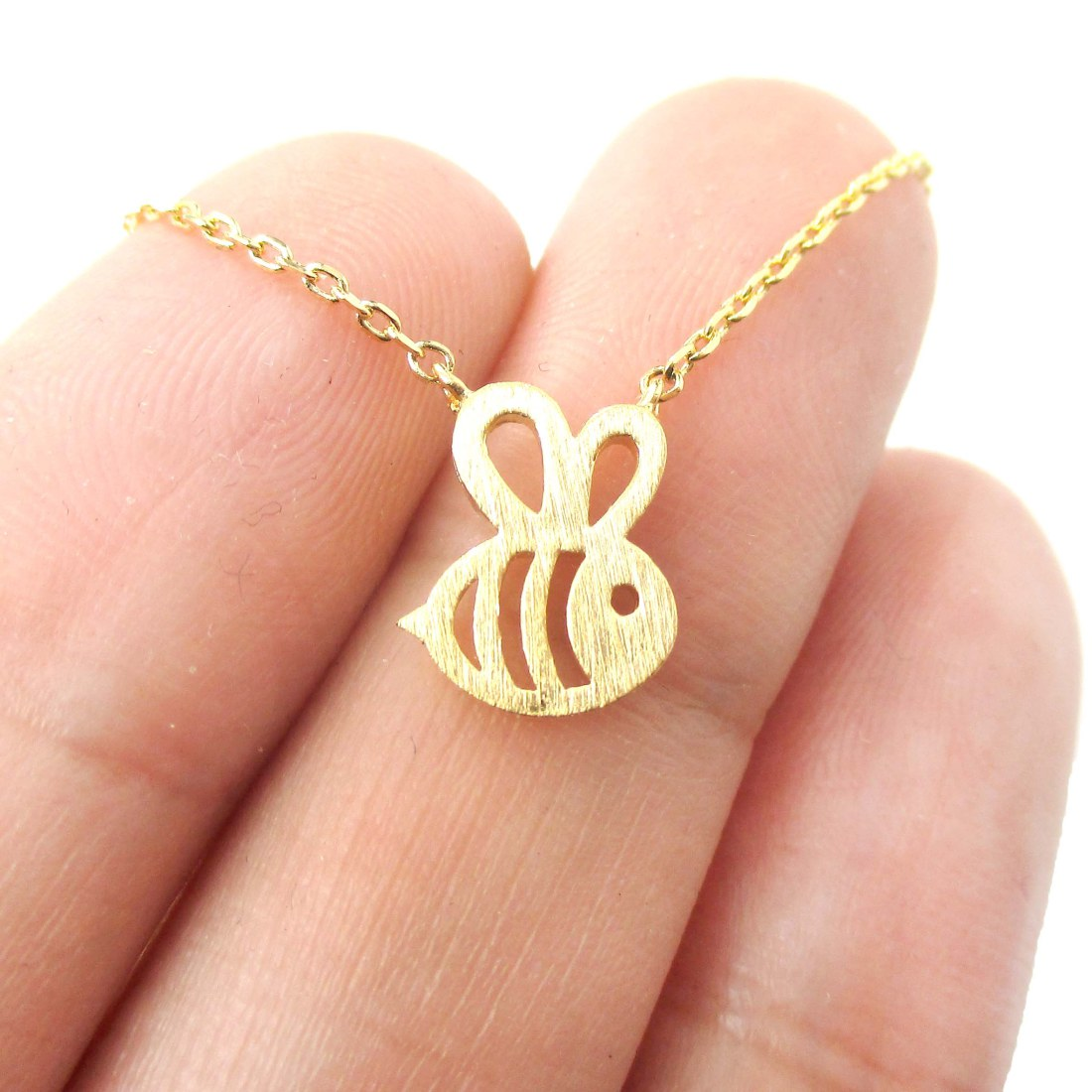 Bumble bee shaped cute insect charm necklace in gold dotoly animal bumble bee shaped cute insect charm necklace in gold aloadofball Choice Image