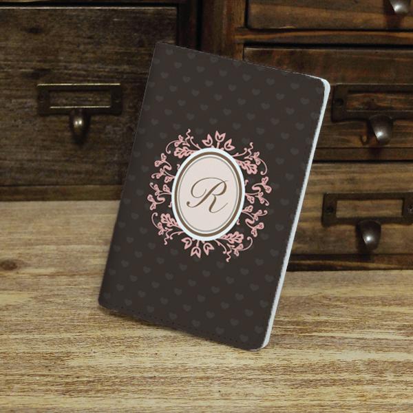 vintage style wreath custom personalised monogrammed pu leather passport holder case wallet