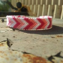 Hot Pink, Baby Pink, and White Chevron Bracelet