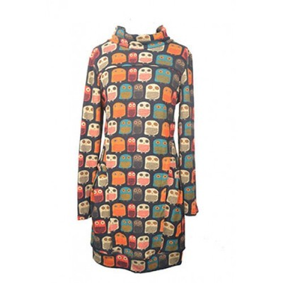 Orange owl print long sleeve tunic