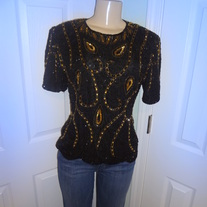 Vintage Black and Gold Sequins top Size M!