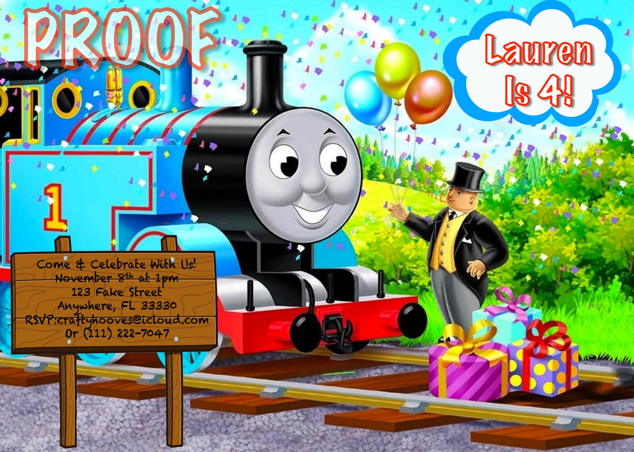 Thomas The Tank Engine Train Birthday Party Invitations U Print Custom Disney Neon