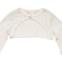 Biscotti Girl's Fan Club Knit Shrug with Beads in Ivory