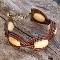 Large Wood Bead Brown Leather Bracelet