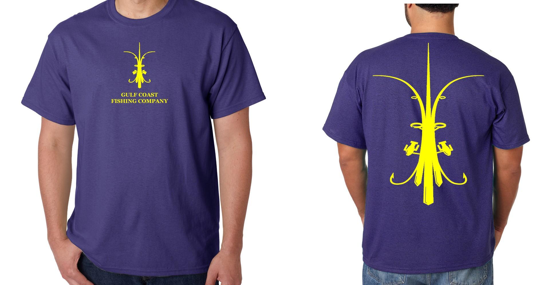 M purple and yellow gulf coast fishing company logo tee for Online tee shirt companies
