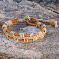 Natural Hemp Woven Bracelet with Henna Leather