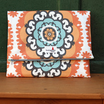 Orange Medallion Foldover Clutch