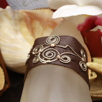 Sterling Silver Wire Embellished Leather Cuff