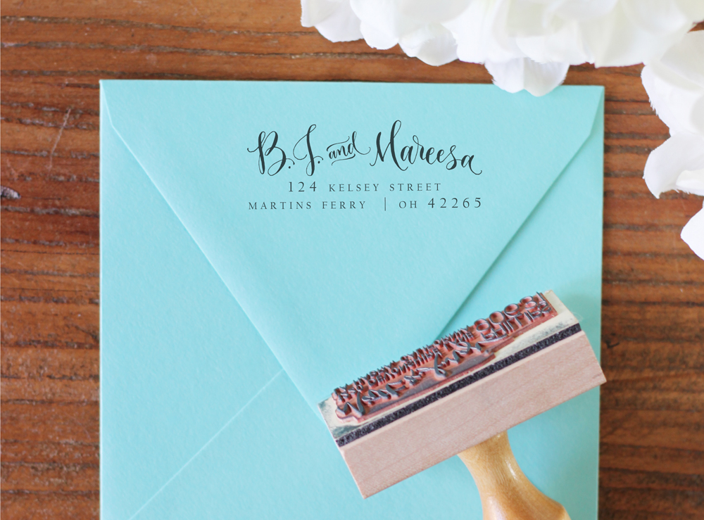 Custom Handwritten Calligraphy Address Stamp Mixed